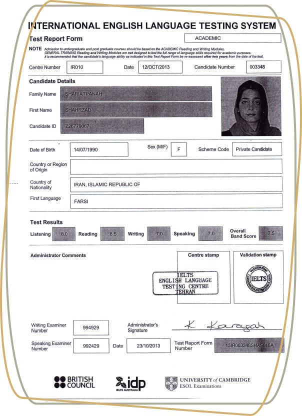 کارنامه آیلتس آکادمیک - دانشجویان کالج آریام